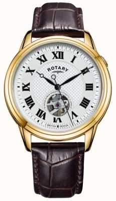 Rotary Cambridge automatique | bracelet en cuir marron | cadran argenté GS05368/70