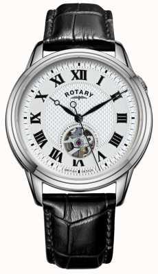 Rotary Cambridge automatique | bracelet en cuir noir | cadran argenté GS05365/70