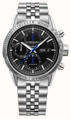 Raymond Weil Freelance pour hommes | chrono automatique | bracelet en acier | noir 7731-ST-20021