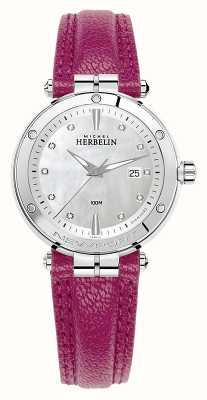 Michel Herbelin Bracelet en cuir fuschia avec cadran serti de diamants Newport 14288/AP89FU