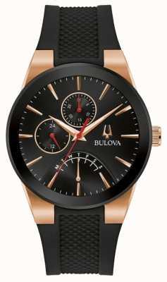 Bulova Hommes | futuro | bracelet en caoutchouc noir | cadran noir 97C111