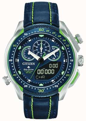 Citizen Promaster sst   heure du monde   bracelet en cuir bleu JW0138-08L