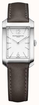 Baume & Mercier Lady hampton | cadran argent opalin | bracelet en cuir liqourice M0A10471