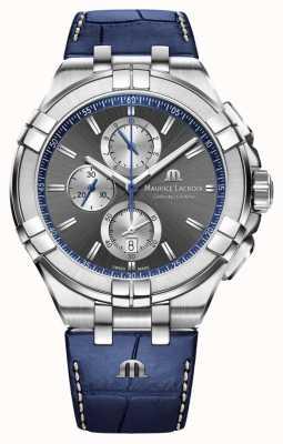 Maurice Lacroix Aikon pour hommes | bracelet en cuir bleu | cadran gris AI1018-SS001-333-1