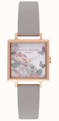 Olivia Burton Cadrans Signature | bracelet en cuir gris | cadran fleuri OB16WG41