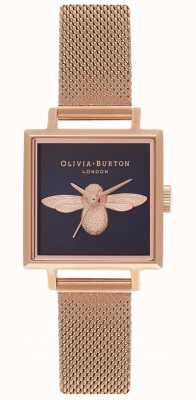 Olivia Burton Abeille 3d | bracelet en maille en or rose | cadran carré abeille OB16AM96