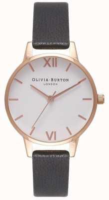 Olivia Burton Bracelet en cuir noir pour femme | cadran midi blanc OB16MDW07
