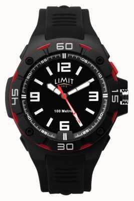Limit | bracelet en caoutchouc noir pour homme | cadran noir | lunette rouge/noir 5789.65
