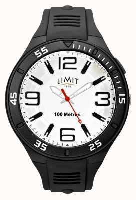 Limit Bracelet en caoutchouc noir pour hommes | cadran blanc 5796.65