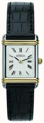 Michel Herbelin Art déco pour femmes | bracelet en cuir noir | cadran argenté 17478/T08