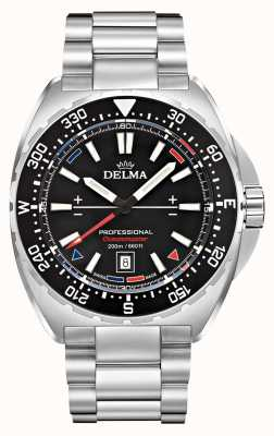 Delma Quartz Oceanmaster | bracelet en acier inoxydable | cadran noir 41701.676.6.038