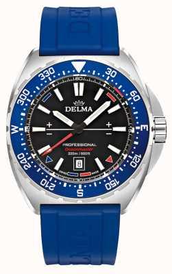 Delma Quartz Oceanmaster | bracelet en caoutchouc bleu | cadran noir 41501.676.6.048