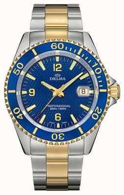 Delma Quartz de Santiago | bracelet en acier bicolore | lunette bleue 52701.562.6.044