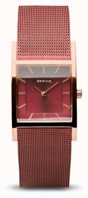 Bering Classique femme | or rose poli | bracelet en maille rouge 10426-363-S