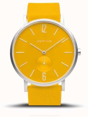 Bering Véritable aurore | bracelet en caoutchouc jaune | cadran jaune 16940-609