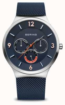 Bering Classique pour hommes | argent brossé | sangle en maille bleue | cadran bleu 33441-307