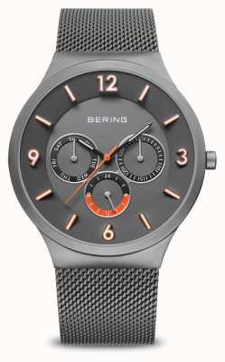 Bering Classique pour hommes | gris brossé | bracelet en maille grise | 33441-377