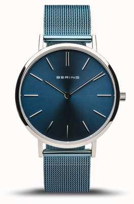 Bering Classique femme | argent poli | bracelet en maille bleue 14134-308