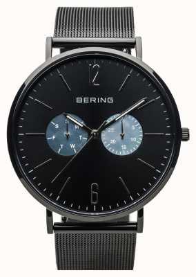 Bering Classique unisexe | noir brillant | sangle en maille noire 14240-123