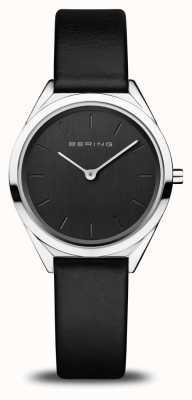 Bering Ultra-mince pour femmes | argent poli | bracelet en cuir noir 17031-402