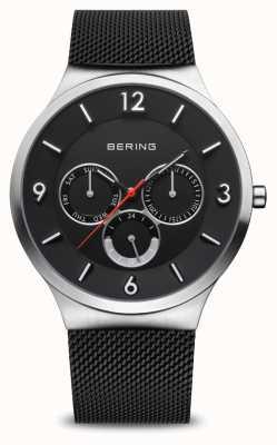 Bering Classique pour hommes | argent brossé | bracelet en maille noire 33441-102