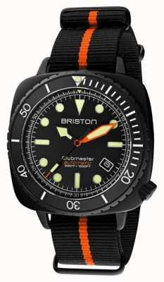 Briston Clubmaster diver pro   bracelet nato noir / orange   cadran noir 20644.PBAM.B.35.NBO