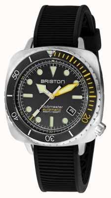 Briston Clubmaster diver pro acier | bracelet en caoutchouc noir | cadran noir 20644.S.DP.34.RB