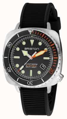 Briston Clubmaster diver pro acier | bracelet en caoutchouc noir | cadran noir 20644.S.DP.35.RB