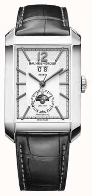 Baume & Mercier Rectangle de Hampton | automatique | cuir noir | cadran argenté M0A10523