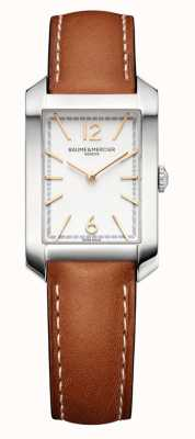 Baume & Mercier Rectangle de Hampton | femmes | cuir marron | cadran argenté M0A10472