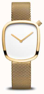 Bering Classique | caillou | bracelet en maille d'or | cadran blanc 18034-364