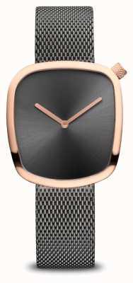 Bering Classique | caillou | bracelet en maille grise | cadran gris 18034-369
