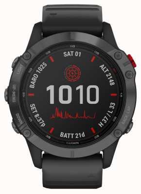 Garmin Fenix 6 pro solaire | bracelet en caoutchouc gris ardoise noir 010-02410-15