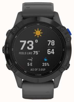 Garmin Fenix 6 pro solaire | noir avec bracelet en caoutchouc gris ardoise 010-02410-11