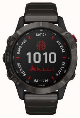 Garmin Fenix 6 pro solaire | bracelet dlc titane gris carbone 010-02410-23
