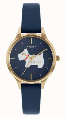 Radley Place Meridan | bracelet en cuir bleu | cadran à motif de chien RY2974