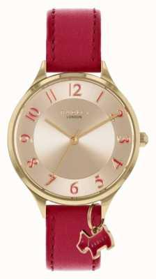 Radley Route de Saxon | bracelet en cuir rouge | cadran argenté RY2968