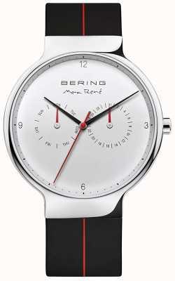 Bering Max rené | bracelet en caoutchouc noir | cadran argenté 15542-404