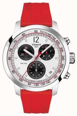 Tissot Prc 200 | chronographe | cadran argenté | bracelet en caoutchouc rouge T1144171703702