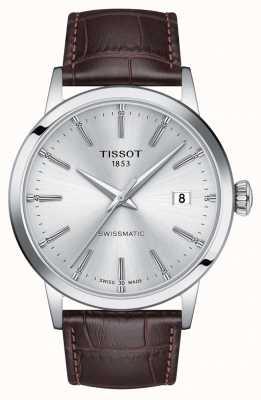 Tissot   swissmatic   cadran argenté   bracelet en cuir marron   T1294071603100