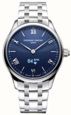 Frederique Constant Hommes | vitalité | smartwatch | cadran bleu | acier inoxydable FC-287N5B6B