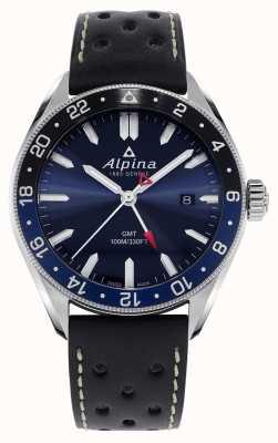 Alpina Alpiner quartz gmt | cadran bleu | bracelet en cuir noir AL-247NB4E6