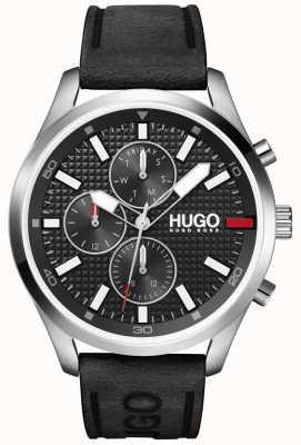 HUGO #chasse homme | cadran noir | montre bracelet en cuir noir 1530161