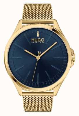 HUGO #smash casual homme | cadran bleu | bracelet en maille ip en or 1530178