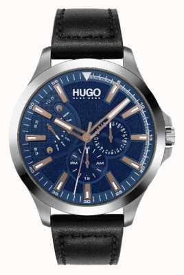 HUGO Hommes #leap | cadran bleu | accent or rose | montre bracelet en cuir noir 1530172