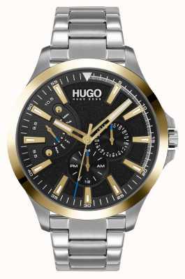 HUGO #saut décontracté | cadran noir | bracelet en acier inoxydable 1530174