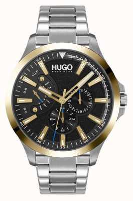HUGO #leap occasionnel   cadran noir   bracelet en acier inoxydable 1530174