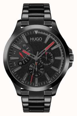 HUGO #saut décontracté | cadran noir | bracelet ip noir 1530175
