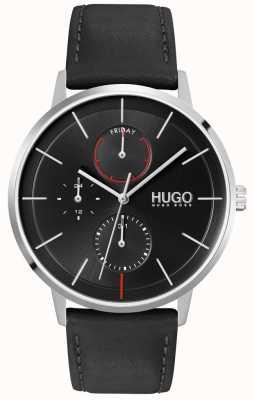 HUGO #exister | cadran noir | multifonctionnel | montre bracelet en cuir noir 1530169