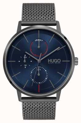 HUGO #exister entreprise | cadran bleu | bracelet en maille ip gris 1530171